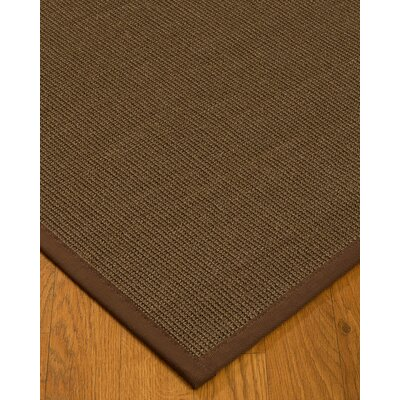 Kerner Border Hand-Woven Brown Area Rug Rug Size: Rectangle 9 x 12, Rug Pad Included: Yes