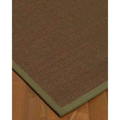 Kerner Border Hand-Woven Brown/Green Area Rug Rug Size: Rectangle 8 x 10, Rug Pad Included: Yes