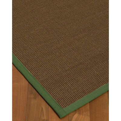 Kerner Border Hand-Woven Brown/Green Area Rug Rug Size: Rectangle 12 x 15, Rug Pad Included: Yes