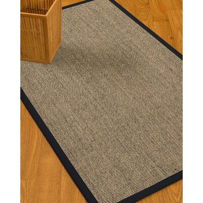 Mahan Border Hand-Woven Gray/Midnight Blue Area Rug Rug Size: Runner 26 x 8, Rug Pad Included: No