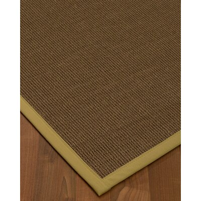 Kerner Border Hand-Woven Brown/Khaki Area Rug Rug Size: Rectangle 9 x 12, Rug Pad Included: Yes