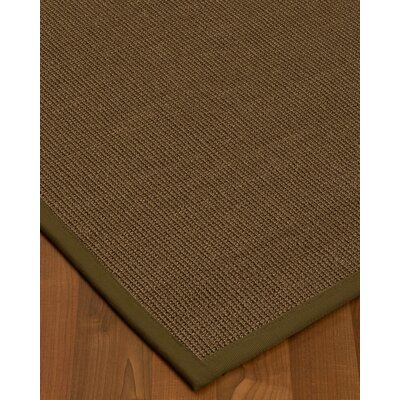 Kerner Border Hand-Woven Brown/Green Area Rug Rug Size: Rectangle 5 x 8, Rug Pad Included: Yes
