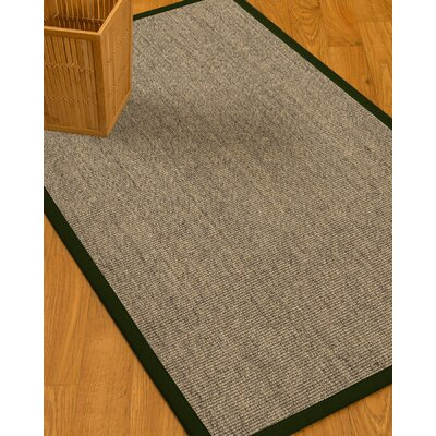 Mahan Border Hand-Woven Gray/Moss Area Rug Rug Size: Rectangle 9 x 12, Rug Pad Included: Yes