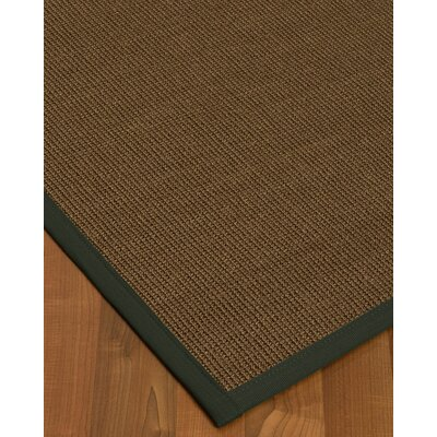Kerner Border Hand-Woven Brown/Green Area Rug Rug Size: Rectangle 4 x 6, Rug Pad Included: Yes