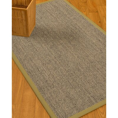 Mahan Border Hand-Woven Gray/Natural Area Rug Rug Size: Rectangle 6 x 9, Rug Pad Included: Yes