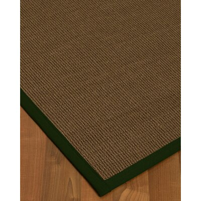 Kerner Border Hand-Woven Brown/Moss Area Rug Rug Size: Rectangle 9 x 12, Rug Pad Included: Yes