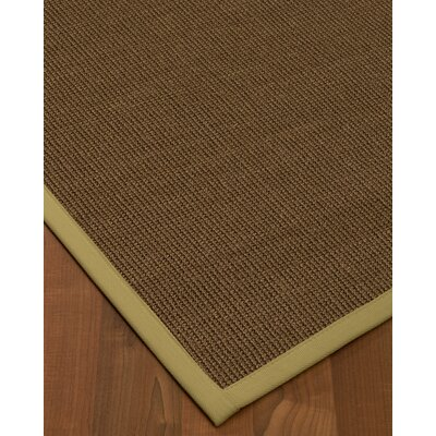 Kerner Border Hand-Woven Brown/Olive Area Rug Rug Size: Rectangle 9 x 12, Rug Pad Included: Yes