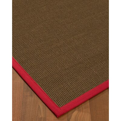 Kerner Border Hand-Woven Brown/Red Area Rug Rug Size: Rectangle 5 x 8, Rug Pad Included: Yes