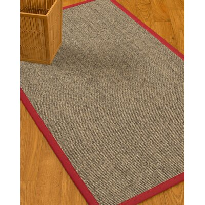Mahan Border Hand-Woven Gray/Red Area Rug Rug Size: Rectangle 2 x 3, Rug Pad Included: No