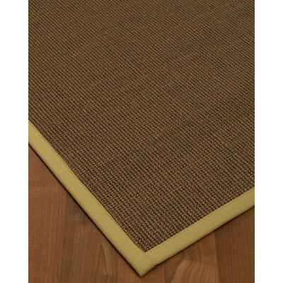 Kerner Border Hand-Woven Brown/Sand Area Rug Rug Size: Rectangle 6 x 9, Rug Pad Included: Yes