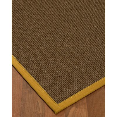 Kerner Border Hand-Woven Brown/Tan Area Rug Rug Size: Rectangle 6 x 9, Rug Pad Included: Yes