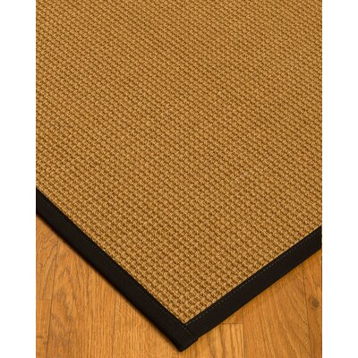 Aula Border Hand-Woven Brown/Black Area Rug with Free Rug Pad