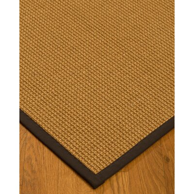 Aula Border Hand-Woven Brown Area Rug with Free Rug Pad