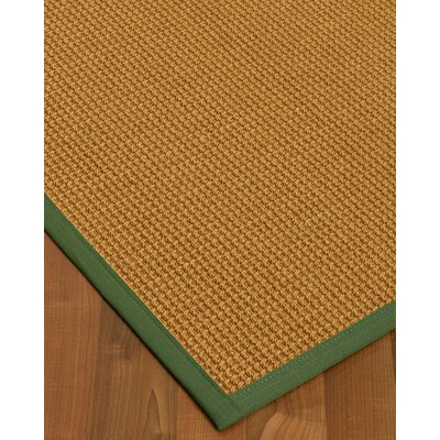 Aula Border Hand-Woven Brown/Green Area Rug Rug Size: Rectangle 6 x 9, Rug Pad Included: Yes