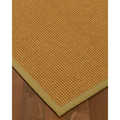Aula Border Hand-Woven Brown/Khaki Area Rug Rug Size: Rectangle 12 x 15, Rug Pad Included: Yes