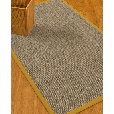 Mahan Border Hand-Woven Gray/Tan Area Rug Rug Size: Rectangle 6 x 9, Rug Pad Included: Yes