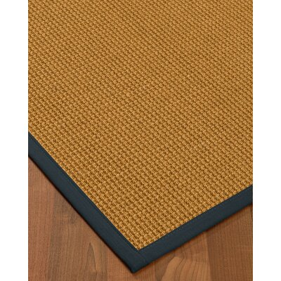 Aula Border Hand-Woven Brown/Navy Area Rug Rug Size: Rectangle 9 x 12, Rug Pad Included: Yes