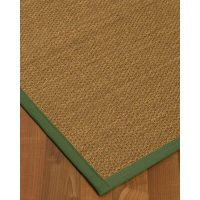 Kennon Border Hand-Woven Brown/Green Area Rug Rug Size: Rectangle 12 x 15, Rug Pad Included: Yes
