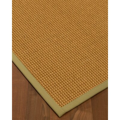 Aula Border Hand-Woven Brown/Natural Area Rug Rug Size: Rectangle 6 x 9, Rug Pad Included: Yes