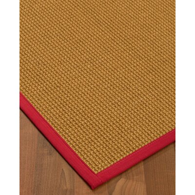 Aula Border Hand-Woven Brown/Red Area Rug Rug Size: Rectangle 6 x 9, Rug Pad Included: Yes