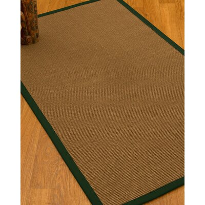 Huntwood Border Hand-Woven Brown/Moss Area Rug Rug Size: Rectangle 4 x 6, Rug Pad Included: Yes