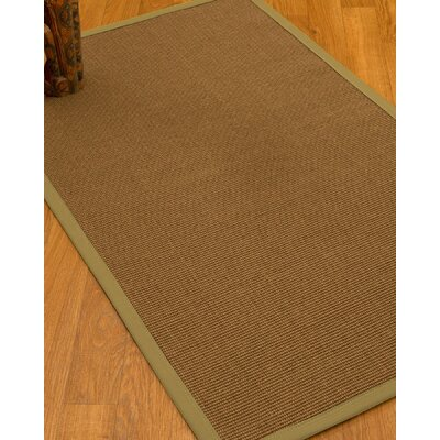 Huntwood Border Hand-Woven Brown/Green Area Rug Rug Size: Rectangle 4 x 6, Rug Pad Included: Yes