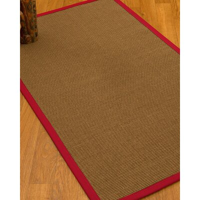Huntwood Border Hand-Woven Brown/Red Area Rug Rug Size: Rectangle 4 x 6, Rug Pad Included: Yes