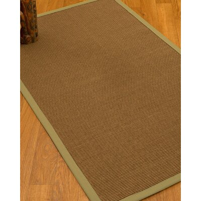 Huntwood Border Hand-Woven Brown/Sand Area Rug Rug Size: Rectangle 8 x 10, Rug Pad Included: Yes