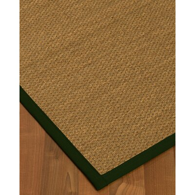 Chavis Border Hand-Woven Beige/Moss Area Rug Rug Size: Rectangle 8 x 10, Rug Pad Included: Yes