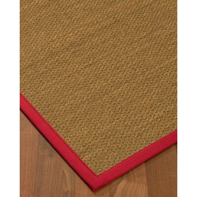 Chavis Border Hand-Woven Beige/Red Area Rug Rug Size: Rectangle 5 x 8, Rug Pad Included: Yes