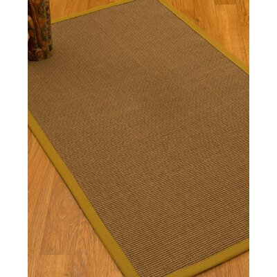 Huntwood Border Hand-Woven Brown/Tan Area Rug Rug Size: Rectangle 6 x 9, Rug Pad Included: Yes