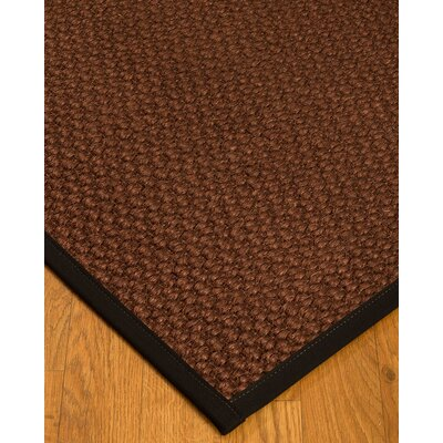 Kerrick Border Hand-Woven Brown/Black Area Rug Rug Size: Rectangle 5 x 8, Rug Pad Included: Yes