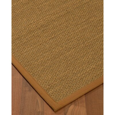 Kenny Border Hand-Woven Brown Area Rug Rug Size: Rectangle 5 x 8, Rug Pad Included: Yes