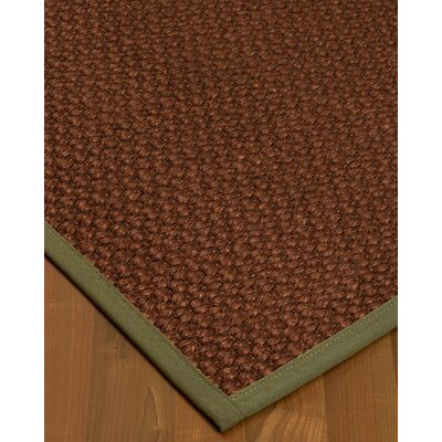 Kerrick Border Hand-Woven Brown/Green Area Rug Rug Size: Rectangle 9 x 12, Rug Pad Included: Yes