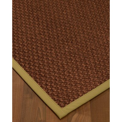 Kerrick Border Hand-Woven Brown/Khaki Area Rug Rug Size: Rectangle 9 x 12, Rug Pad Included: Yes