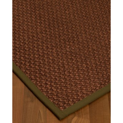 Kerrick Border Hand-Woven Brown Area Rug Rug Size: Rectangle 5 x 8, Rug Pad Included: Yes