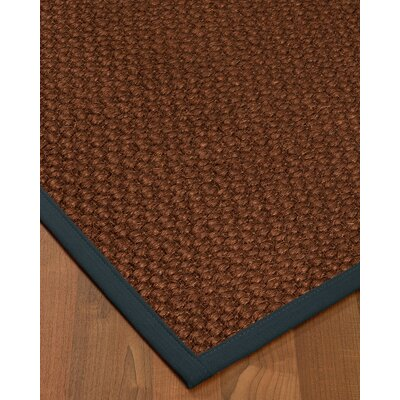 Kerrick Border Hand-Woven Brown/Navy Area Rug Rug Size: Rectangle 9 x 12, Rug Pad Included: Yes