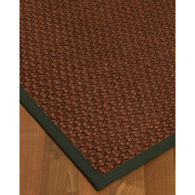 Kerrick Border Hand-Woven Brown/Green Area Rug Rug Size: Rectangle 8 x 10, Rug Pad Included: Yes