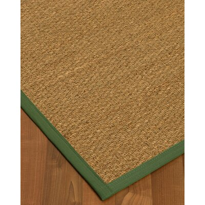 Anya Border Hand-Woven Beige/Green Area Rug Rug Size: Runner 26 x 8, Rug Pad Included: No