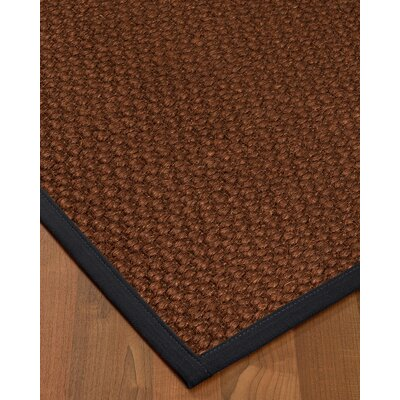 Kerrick Border Hand-Woven Brown/Midnight Blue Area Rug Rug Size: Rectangle 5 x 8, Rug Pad Included: Yes