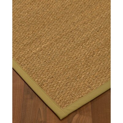 Anya Border Hand-Woven Beige/Khaki Area Rug Rug Size: Runner 26 x 8, Rug Pad Included: No