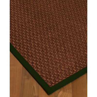 Kerrick Border Hand-Woven Brown/Moss Area Rug Rug Size: Rectangle 9 x 12, Rug Pad Included: Yes