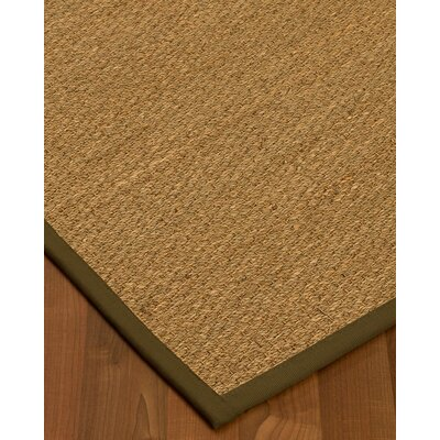 Anya Border Hand-Woven Beige/Olive Area Rug Rug Size: Rectangle 9 x 12, Rug Pad Included: Yes
