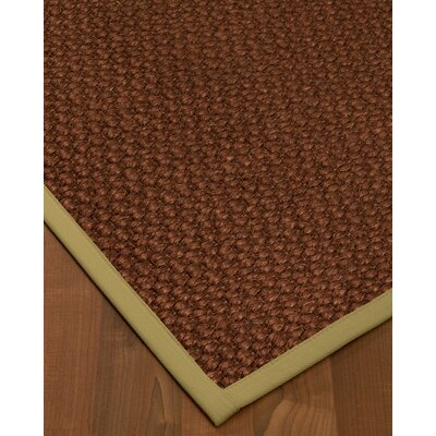 Kerrick Border Hand-Woven Brown/Green Area Rug Rug Size: Rectangle 5 x 8, Rug Pad Included: Yes