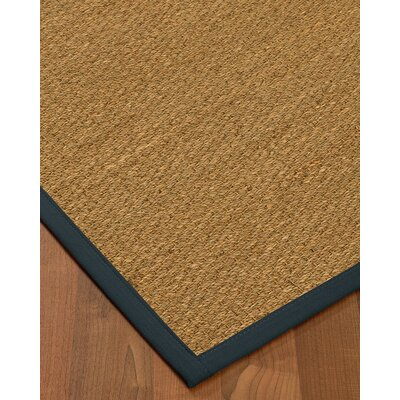 Anya Border Hand-Woven Beige/Marine Area Rug Rug Size: Runner 26 x 8, Rug Pad Included: No
