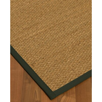 Kenton Border Hand-Woven Brown/Olive Area Rug Rug Size: Rectangle 8 x 10, Rug Pad Included: Yes