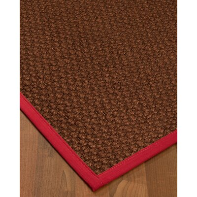 Kerrick Border Hand-Woven Brown/Red Area Rug Rug Size: Rectangle 9 x 12, Rug Pad Included: Yes