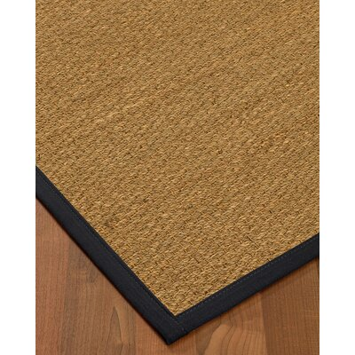 Anya Border Hand-Woven Beige/Midnight Blue Area Rug Rug Size: Runner 26 x 8, Rug Pad Included: No