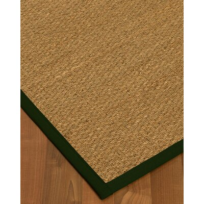 Anya Border Hand-Woven Beige/Moss Area Rug Rug Size: Rectangle 9 x 12, Rug Pad Included: Yes