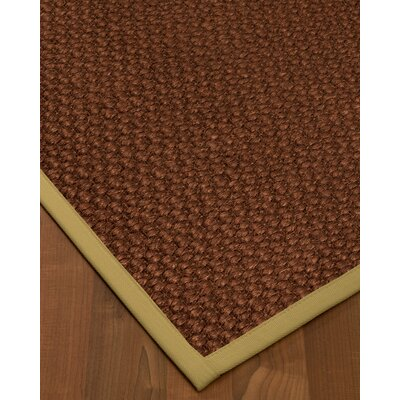 Kerrick Border Hand-Woven Brown/Sand Area Rug Rug Size: Rectangle 2' x 3', Rug Pad Included: No